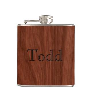 Personalized Name   Mahogany Woodgrain Pattern Hip Flask