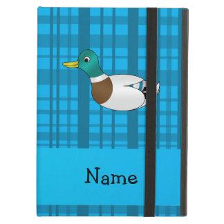 Personalized name mallard duck blue plaid iPad case