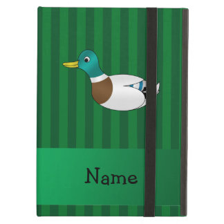 Personalized name mallard duck green stripes iPad air cover