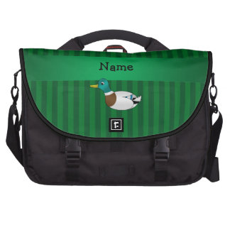 Personalized name mallard duck green stripes bags for laptop