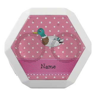 Personalized name mallard duck pink polka dots white boombot rex bluetooth speaker