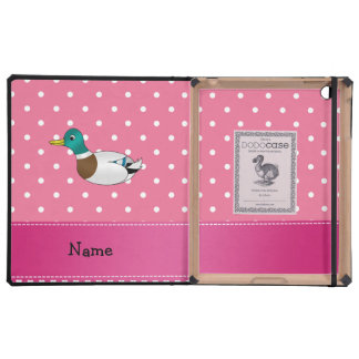 Personalized name mallard duck pink polka dots covers for iPad