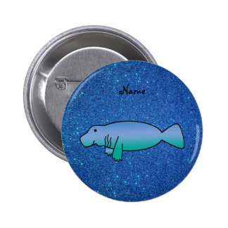 Personalized name manatee blue glitter 6 cm round badge