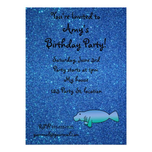 Personalized name manatee blue glitter personalized invitations