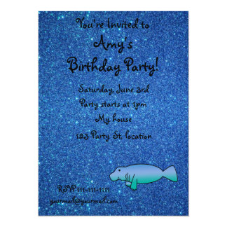 "Personalized name manatee blue glitter 5.5"" x 7.5"" invitation card"