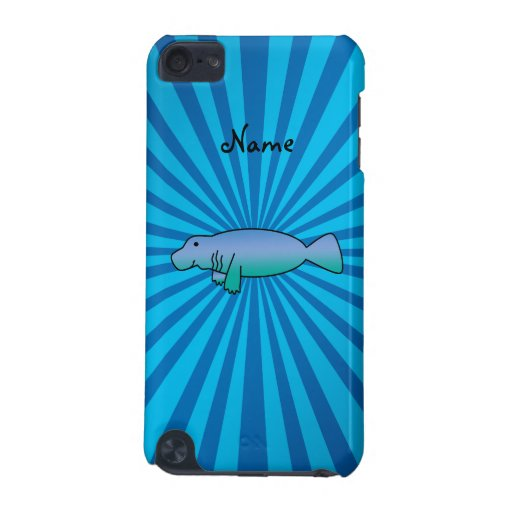 Personalized name manatee blue sunburst iPod touch (5th generation) covers