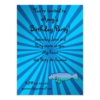 Personalized name manatee blue sunburst 14 cm x 19 cm invitation card