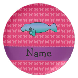 Personalized name manatee pink butterflies plate
