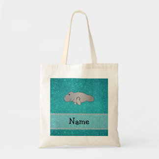 Personalized name manatee turquoise glitter bags