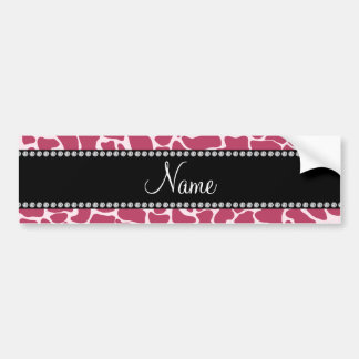 Personalized name mauve giraffe pattern bumper stickers
