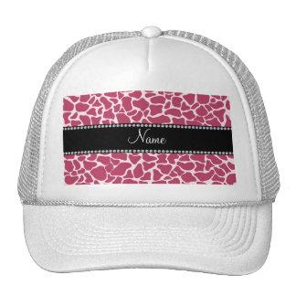 Personalized name mauve giraffe pattern trucker hats