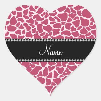 Personalized name mauve giraffe pattern heart stickers