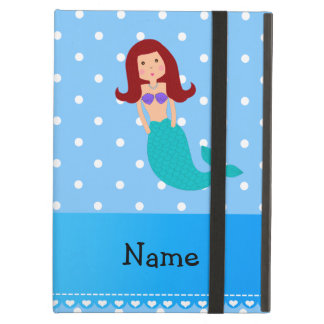 Personalized name mermaid blue polka dots cover for iPad air