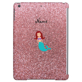 Personalized name mermaid pastel pink glitter iPad air covers