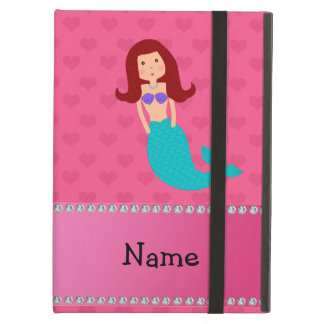 Personalized name mermaid pink hearts iPad air cases