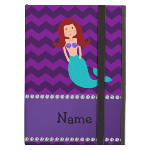 Personalized name mermaid purple chevrons case for iPad air
