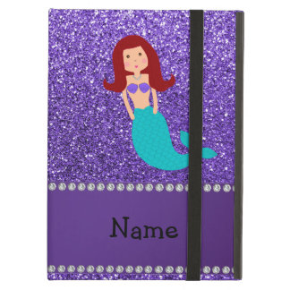 Personalized name mermaid purple glitter case for iPad air