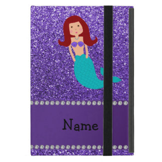 Personalized name mermaid purple glitter case for iPad mini