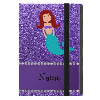 Personalized name mermaid purple glitter iPad mini cases