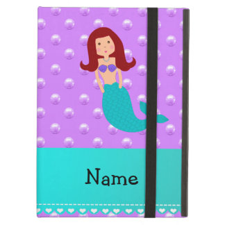 Personalized name mermaid purple pearls iPad air cases