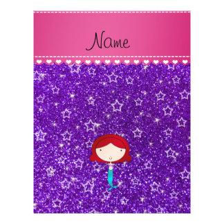 Personalized name mermaid purple stars glitter 21.5 cm x 28 cm flyer