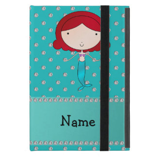 Personalized name mermaid turquoise diamonds cases for iPad mini