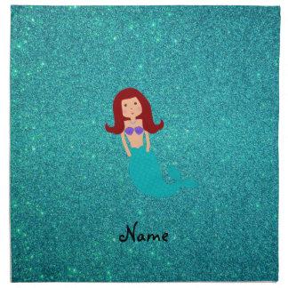 Personalized name mermaid turquoise glitter cloth napkins
