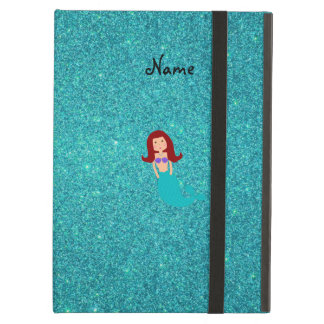 Personalized name mermaid turquoise glitter iPad cases