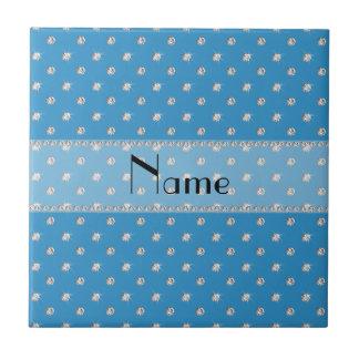 Personalized name misty blue diamonds tiles