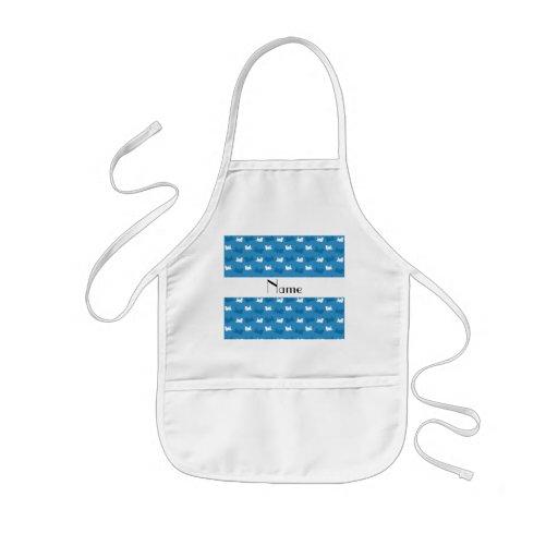 Personalized name misty blue train pattern apron