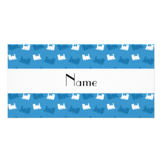 Personalized name misty blue train pattern photo greeting card