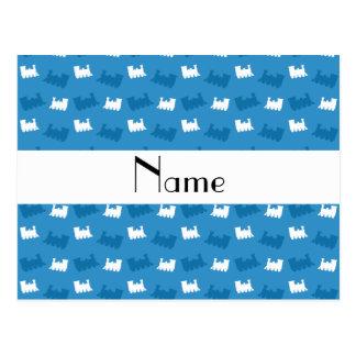 Personalized name misty blue train pattern postcard