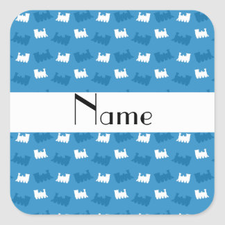 Personalized name misty blue train pattern sticker
