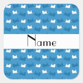 Personalized name misty blue train pattern sticker