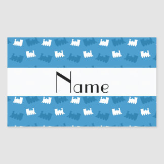 Personalized name misty blue train pattern rectangular stickers