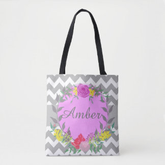 Personalized Name Modern Flower Tote Bag