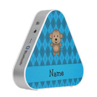 Personalized name monkey blue argyle