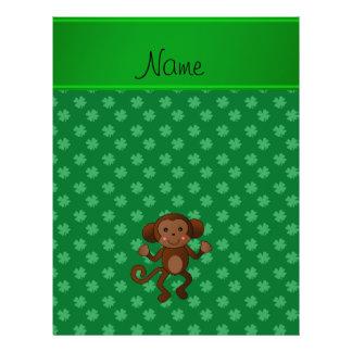 Personalized name monkey green shamrocks personalized flyer