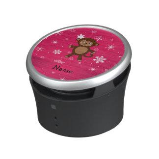 Personalized name monkey pink snowflakes speaker