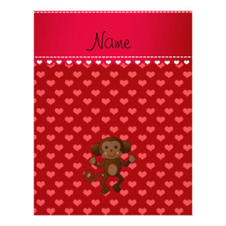 Personalized name monkey red hearts custom flyer