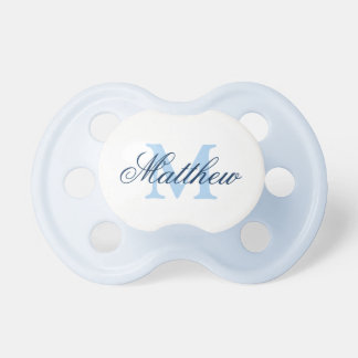 Personalized name monogram baby pacifier for boys