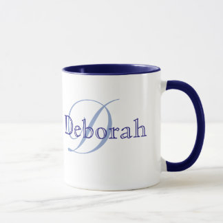 personalized name ~ monogram blue mug