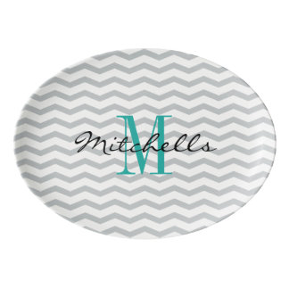 Personalized name monogram coupe serving platter porcelain serving platter