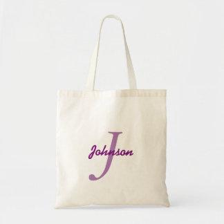 Personalized name monogram lavender purple tote bag