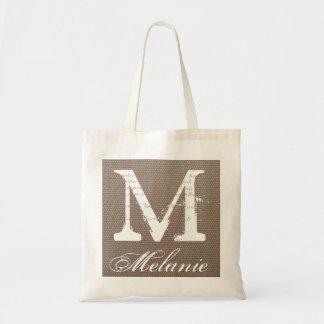 Personalized name monogram tote bag | Burlap style