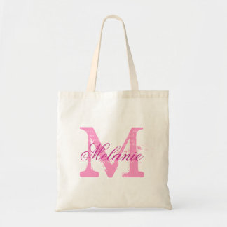 Personalized name monogram tote bag in pink