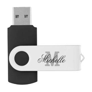 Personalized name monogram USB flash drive