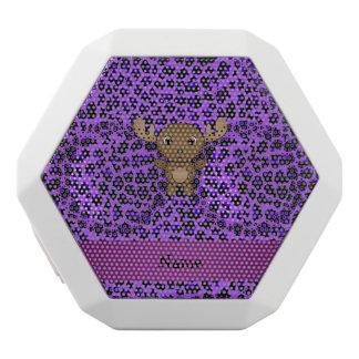 Personalized name moose purple leopard print white boombot rex bluetooth speaker