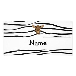 Personalized name moose zebra stripes photo card template
