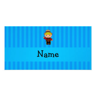 Personalized name mountie blue stripes photo card